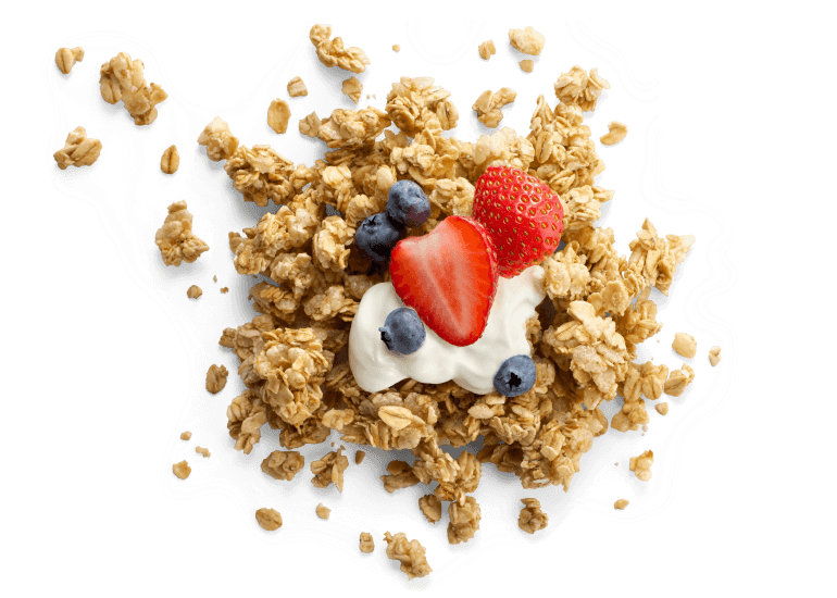 A scoop of Cascadian Farm granola with yogurt and berries
