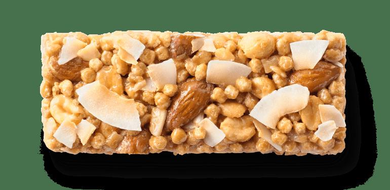 An unwrapped Cascadian Farm granola bar sitting on a table