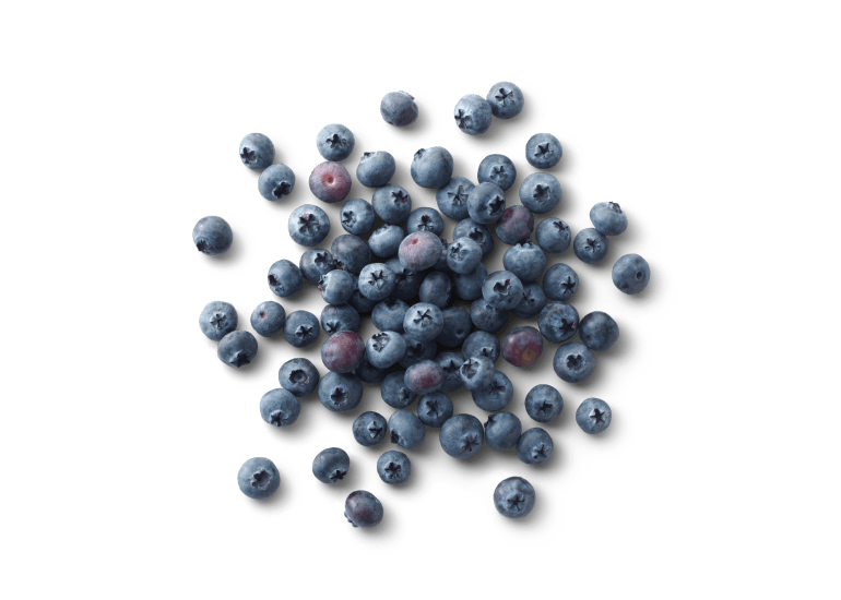 A handful of Cascadian Farm blueberries scattered on a table