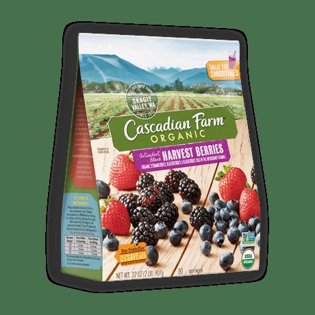 A bag of frozen Cascadian Farm Organic Antioxidant Blend Harvest Berries