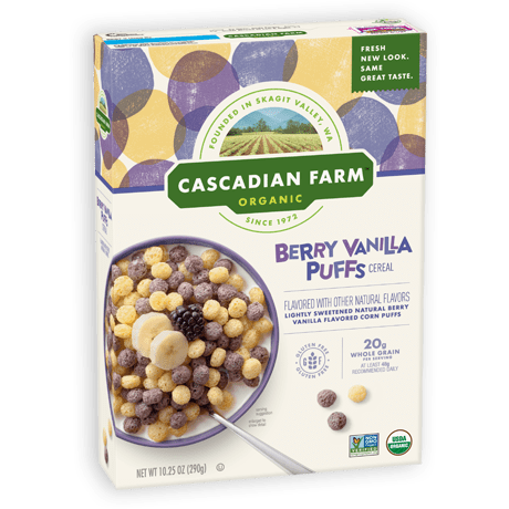 A box of Cascadian Farm Organic Berry Vanilla Puffs cereal