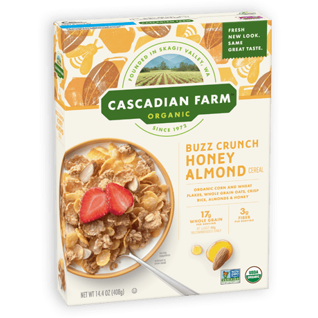 A box of Cascadian Farm Organic Buzz Crunch Honey Almond Cereal