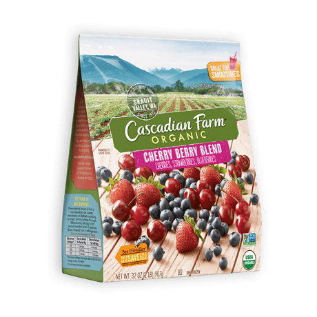 A bag of frozen Cascadian Farm Organic Cherry Berry Blend