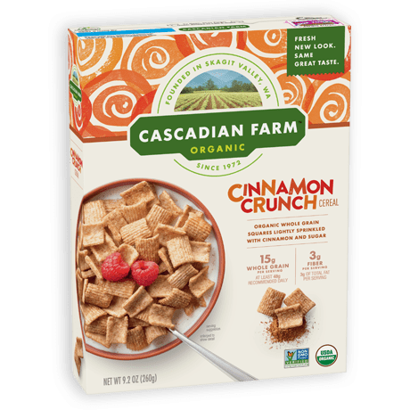 A box of Cascadian Farm Organic Cinnamon Crunch cereal