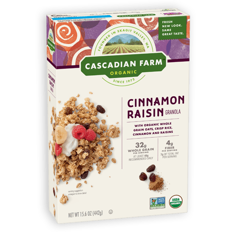 A box of Cascadian Farm Organic Cinnamon Raisin Granola