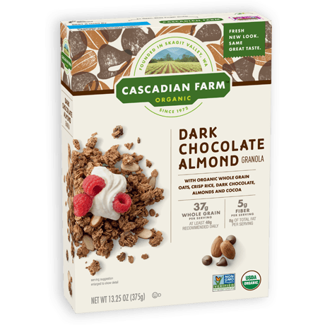 A box of Cascadian Farm Organic Dark Chocolate Almond Granola