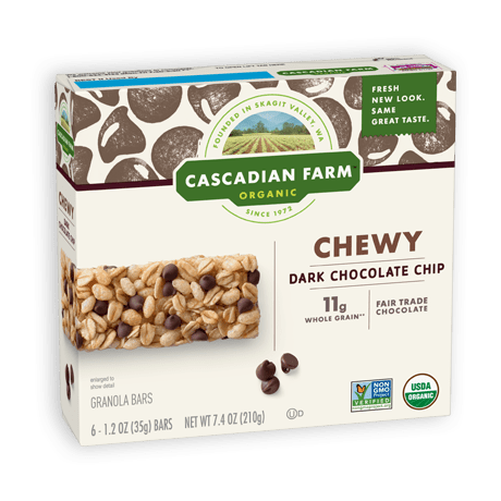A box of Cascadian Farm Organic Dark Chocolate Chip Chewy Granola Bars