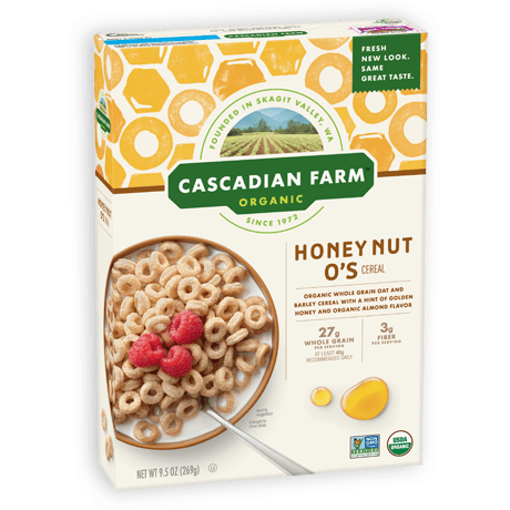 Cascadian Farm Honey Nut O's Cereal package image