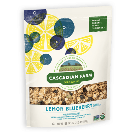 A bag of Cascadian Farm Organic lemon blueberry granola