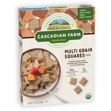 Cascadian Farm Multi Grain Squares Cereal package image