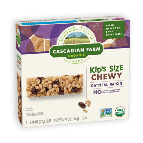 Cascadian Farm Oatmeal Raisin Chewy Granola Bar package image