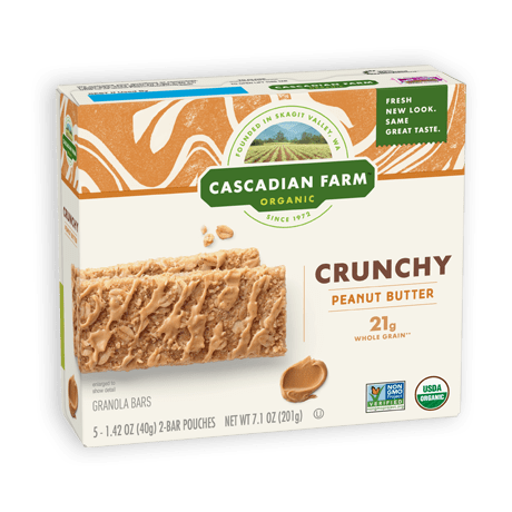 A box of Cascadian Farm Organic Peanut Butter Crunchy Granola Bars
