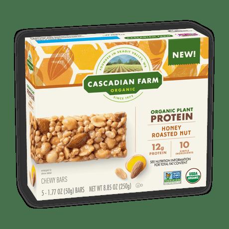 A box of Cascadian Farm Organic Honey Roasted Nut Chewy Granola Bars