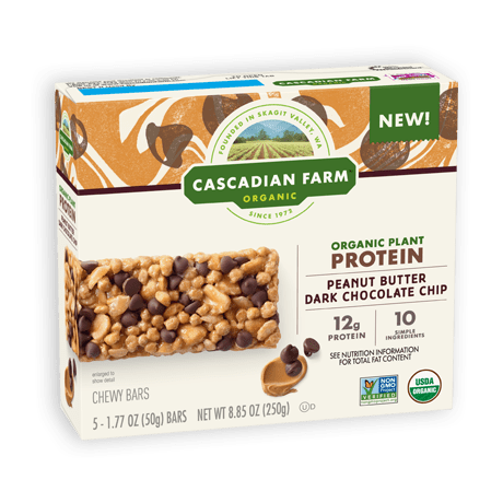 Cascadian Farm Peanut Butter Dark Chocolate Chip Protein Chewy Bar package image
