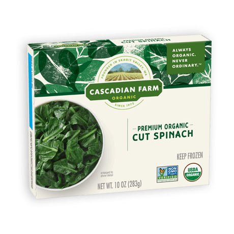 A box of frozen Cascadian Farm Organic Premium Organic Cut Spinach