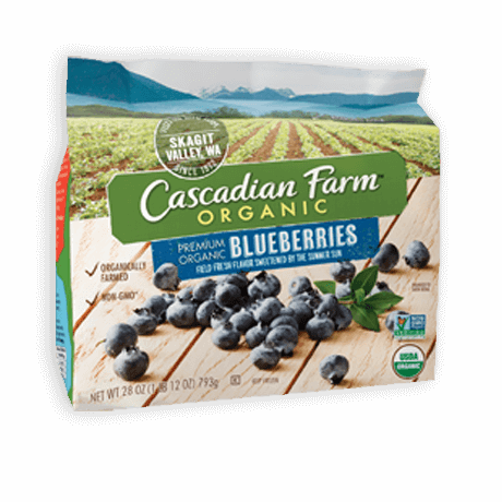 A bag of frozen Cascadian Farm Organic Blueberries