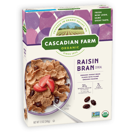 Cascadian Farm Raisin Bran Cereal package image