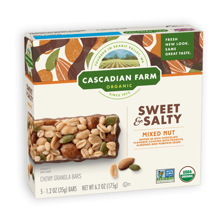 A box of Cascadian Farm Organic Sweet and Salty Mixed Nut Chewy Granola Bars