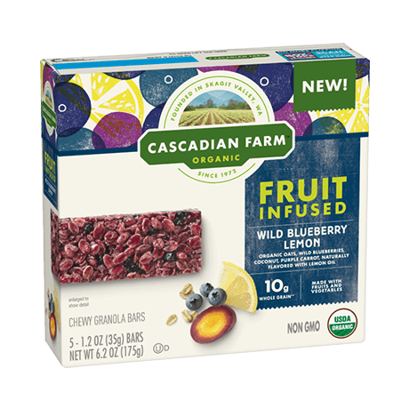 a box of Wild Blueberry Lemon fruit infused chewy granola bars